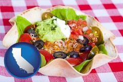 california a texmex taco salad in a baked tortilla