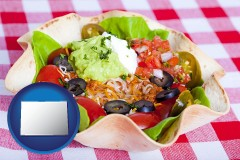 co a texmex taco salad in a baked tortilla