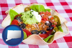 ct a texmex taco salad in a baked tortilla