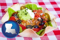 la map icon and a texmex taco salad in a baked tortilla