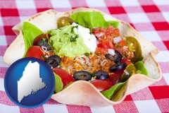 maine a texmex taco salad in a baked tortilla