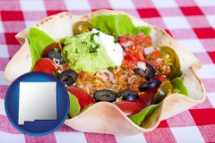 new-mexico a texmex taco salad in a baked tortilla