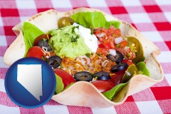 nv a texmex taco salad in a baked tortilla