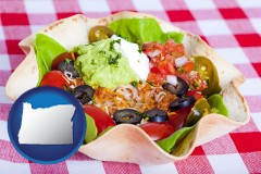 oregon a texmex taco salad in a baked tortilla
