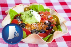 rhode-island map icon and a texmex taco salad in a baked tortilla