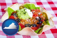 virginia a texmex taco salad in a baked tortilla