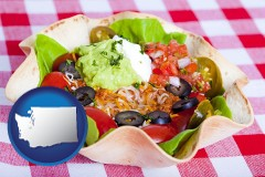 washington a texmex taco salad in a baked tortilla