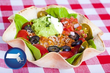 a texmex taco salad in a baked tortilla - with Massachusetts icon